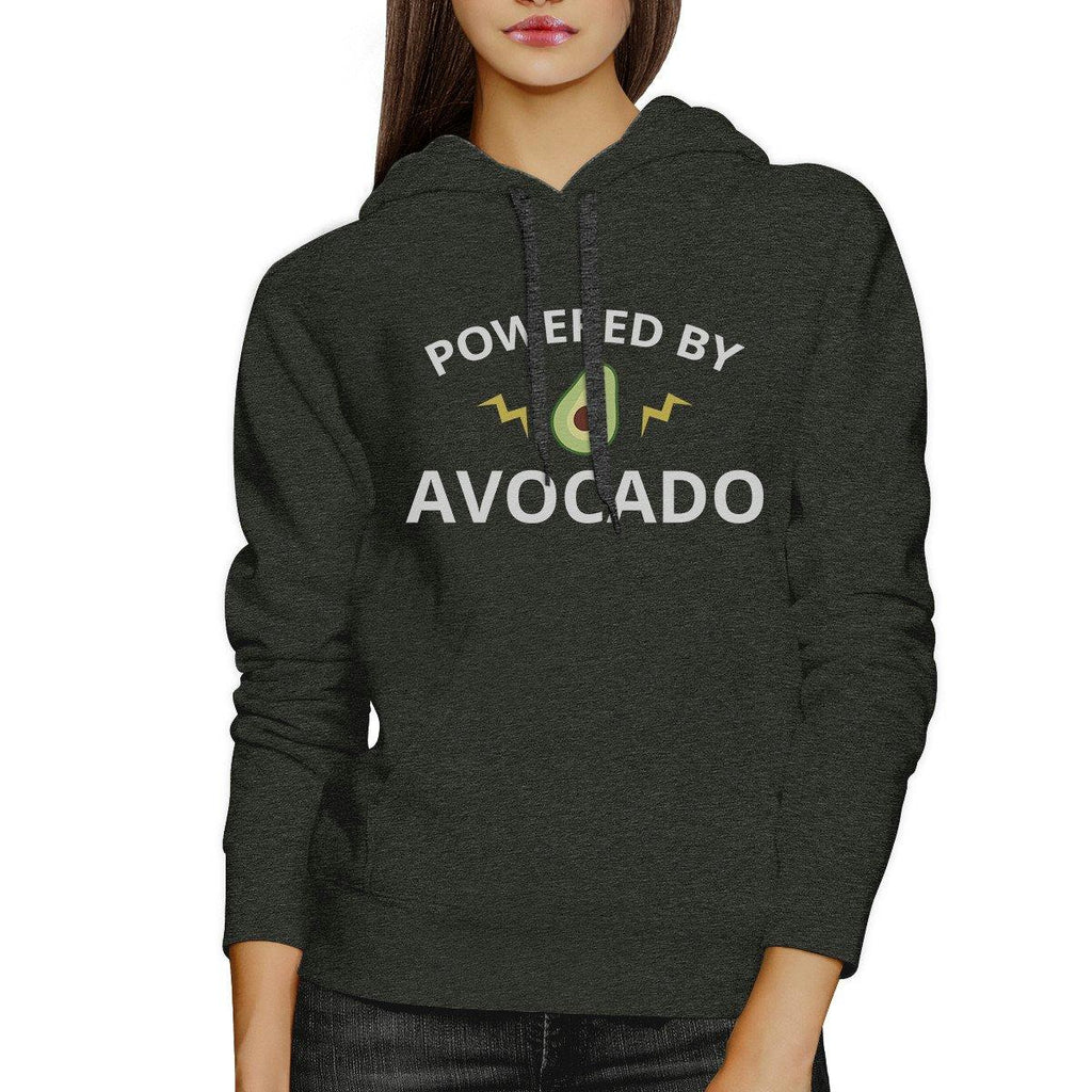 Powered By Avocado Dark Grey Cute Graphic Hoodie With Front Pocket