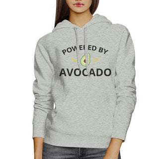 Powered By Avocado Unisex Gray Hoodie Crewneck Trendy Design Fleece