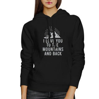 Mountain And Back Black Hoodie Cute Design Gift Ideas For Couples
