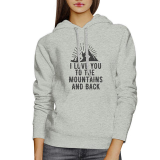Mountain And Back Unisex Grey Hoodie Funny Graphic Crewneck Fleece