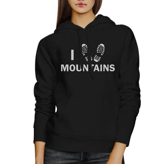 I Heart Mountains Unisex Black Hoodie Gift Idea For Mountain Lovers