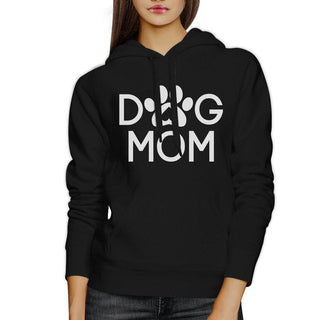 Dog Mom Unisex Black Cute Graphic Hoodie For Dog Owners Round Neck