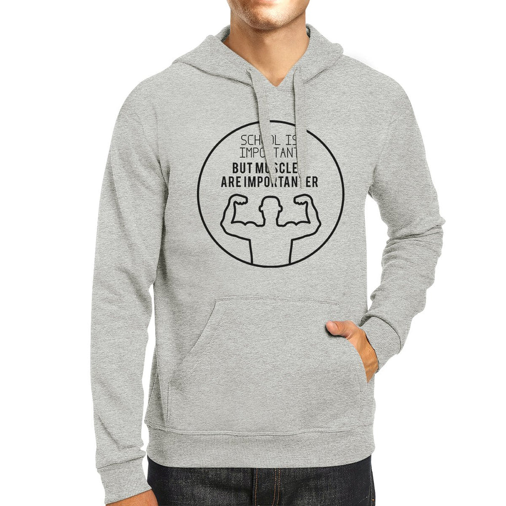 Muscles Are Importanter Grey Hoodie