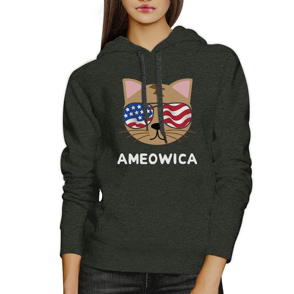 Ameowica Unisex Dark Gray Cute Cat Hoodie For Independence Day