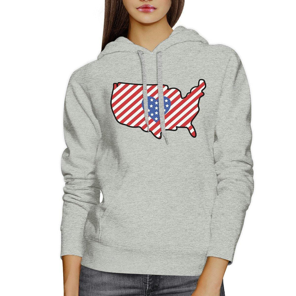 Heart USA Map Unique American Flag Gray Hoodie For Fourth Of July