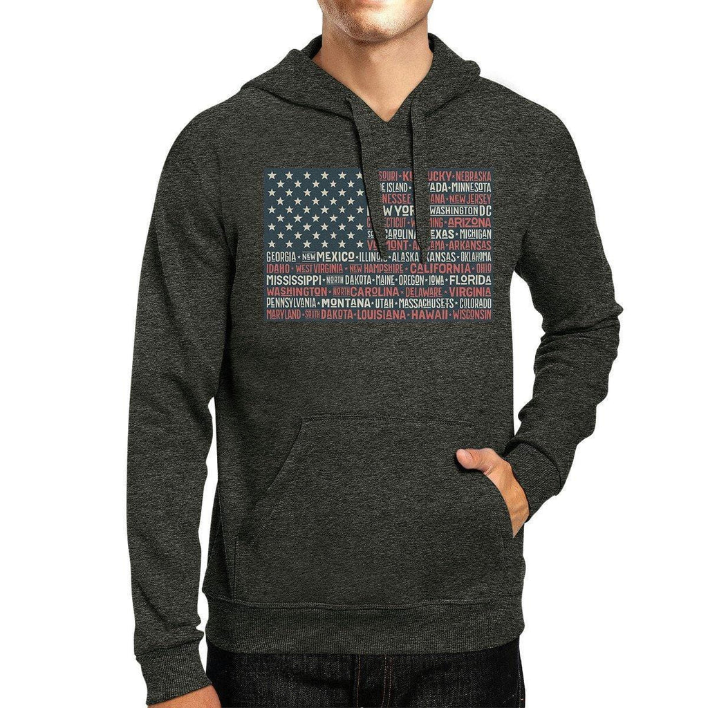 50 States Us Flag Unisex Dark Grey Hoodie Crewneck Pullover Top