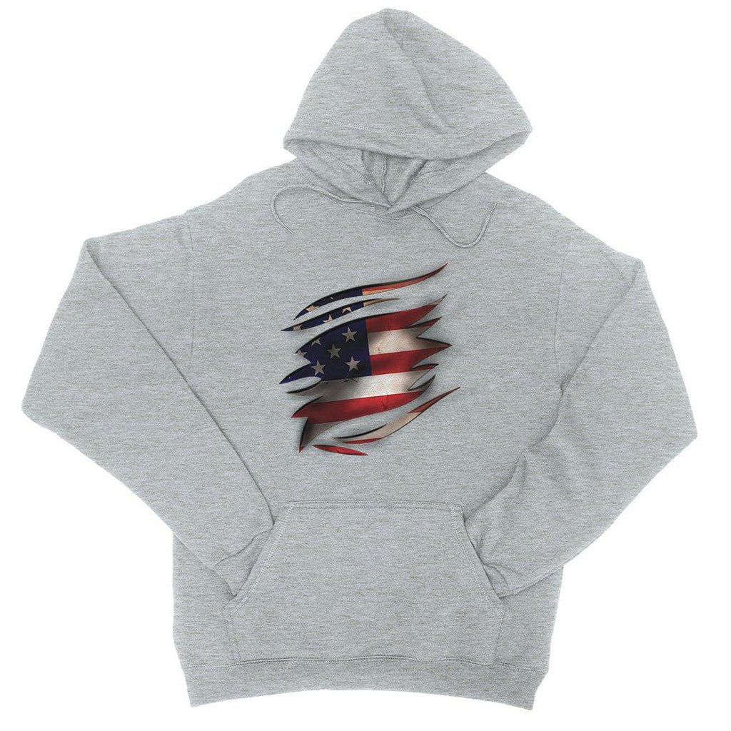 American Flag Ripped Hoodie Unisex 4th Of July Hooded Sweatshirt