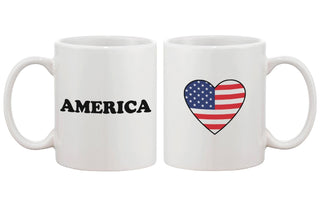 US Flag in A Heart Mug Cup Gift