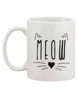 Meow Cute Ceramic Mug Kitty Face Coffee Cup Perfect Gift Idea for Cat Lover