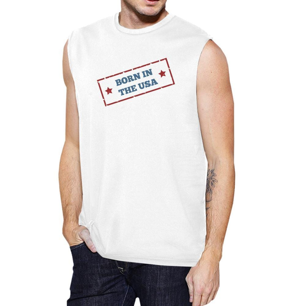 Born In The USA White Round Neck Cotton Graphic Muscle Tee For Men