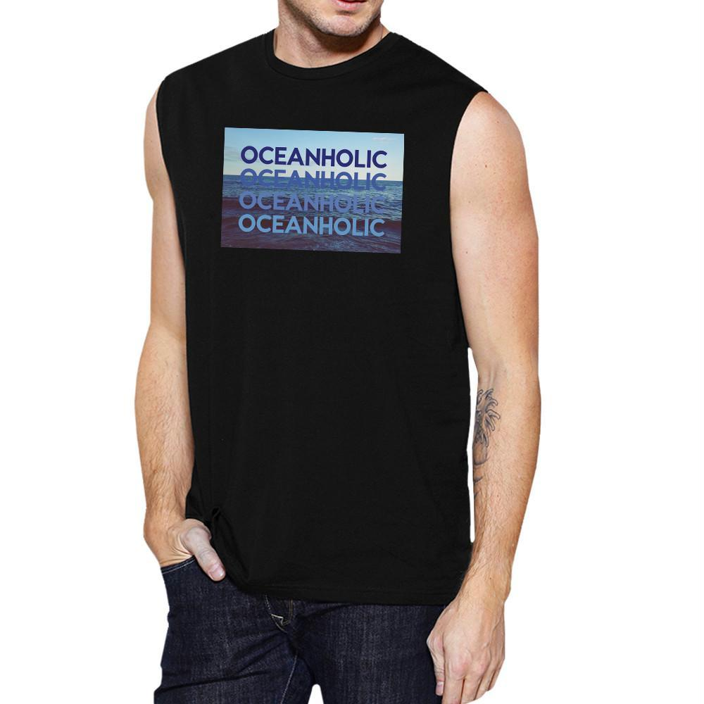 Ocean Holic Mens Black Muscle Tanks Lightweight Tropical Design