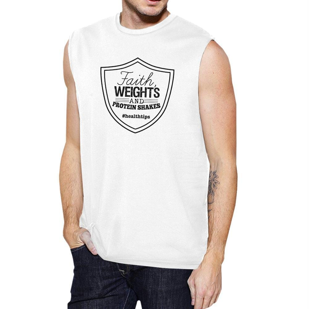 Faith Weights Mens Funny Workout Tank Top Fitness Muscle Shirt Gift