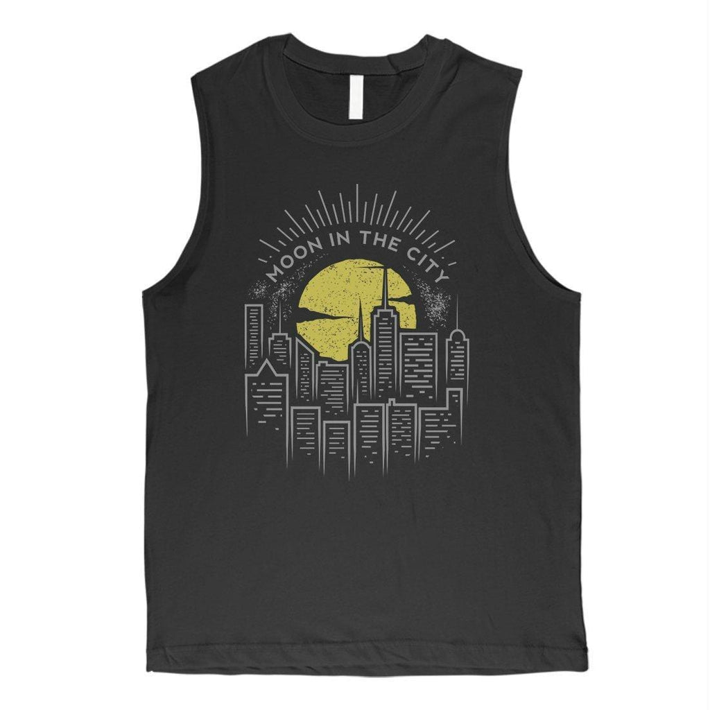 Moon In City Mens Muscle Shirt