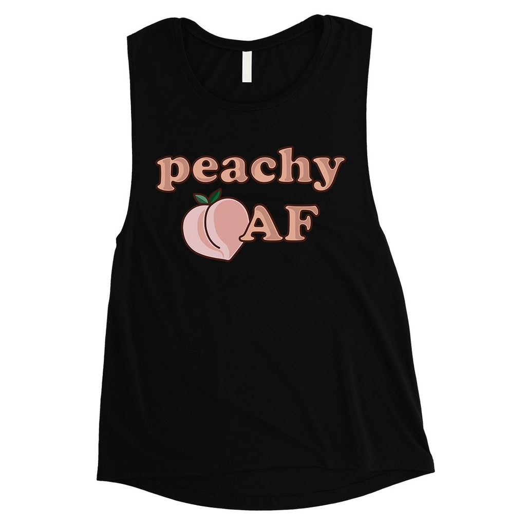 365 Printing Peachy AF Womens Funny Graphic Workout Tank Top Muscle Shirt Gift