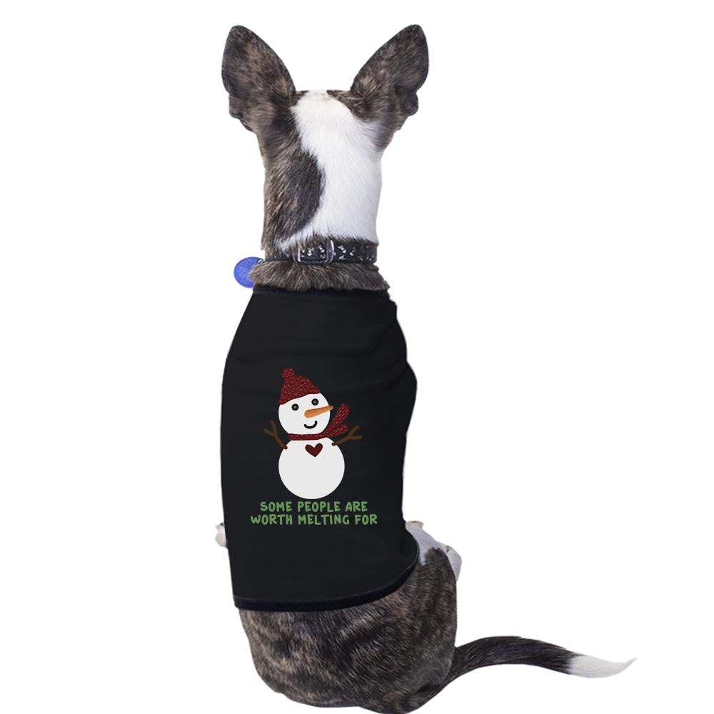 Some People Are Worth Melting For Snowman Pets Black Shirt