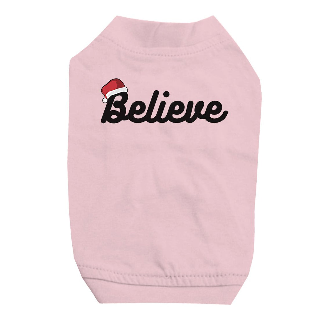 Believe Santa Hat Pet Shirt for Small Dogs