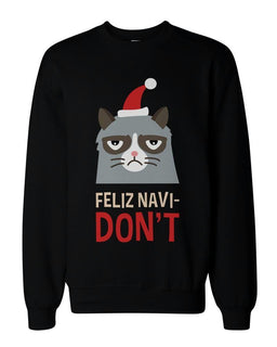 Funny Grumpy Cat Holiday Graphic Sweatshirts - Unisex Black Pullover Sweater
