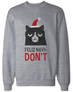Funny Grumpy Cat Holiday Graphic Sweatshirts - Unisex Grey Pullover Sweater