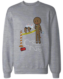 Gingerbread Cookie Investigating Funny Sweatshirts Cute Holiday Grey Pullover Fleece