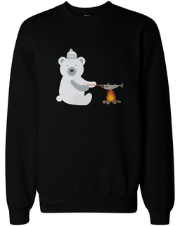 Cute Polar Bear Grilling Fish Sweatshirts Christmas Sweaters Unisex Pullover Fleece