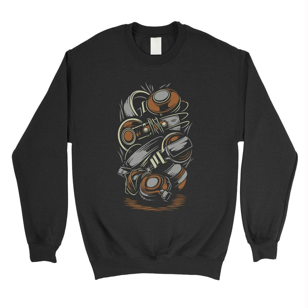 Stacked Headphones Unisex Crewneck Sweatshirt Vintage Graphic Top