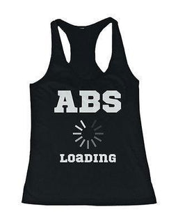 Women's Black Cotton Work Out Tank Top - Abs Loading