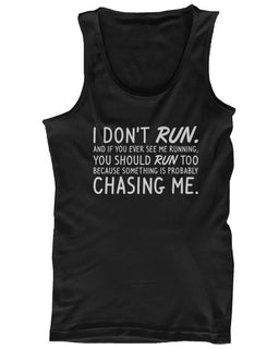 Women's Funny Design Tank Top - I Don't Run - Gym Clothes, Workout Tanks