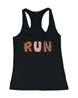 Cookie Letter RUN Women's Work Out Tank Top Ladies Cute Gym Black Tanktop
