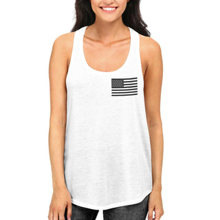 Black and White Pocket American Flag RacerBack Tank Top for Fourth of July