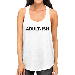 Adult-ish Womens White Sleeveless Tank Top Trendy Typography Top