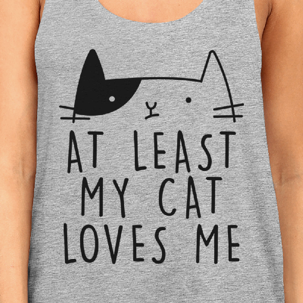 At Least My Cat Loves Women's Sleeveless Tank Top Cute Cat Graphic