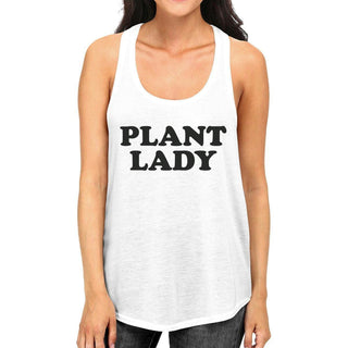 Plant Lady Womens White Racerback Sleeveless Shirt Simple Design