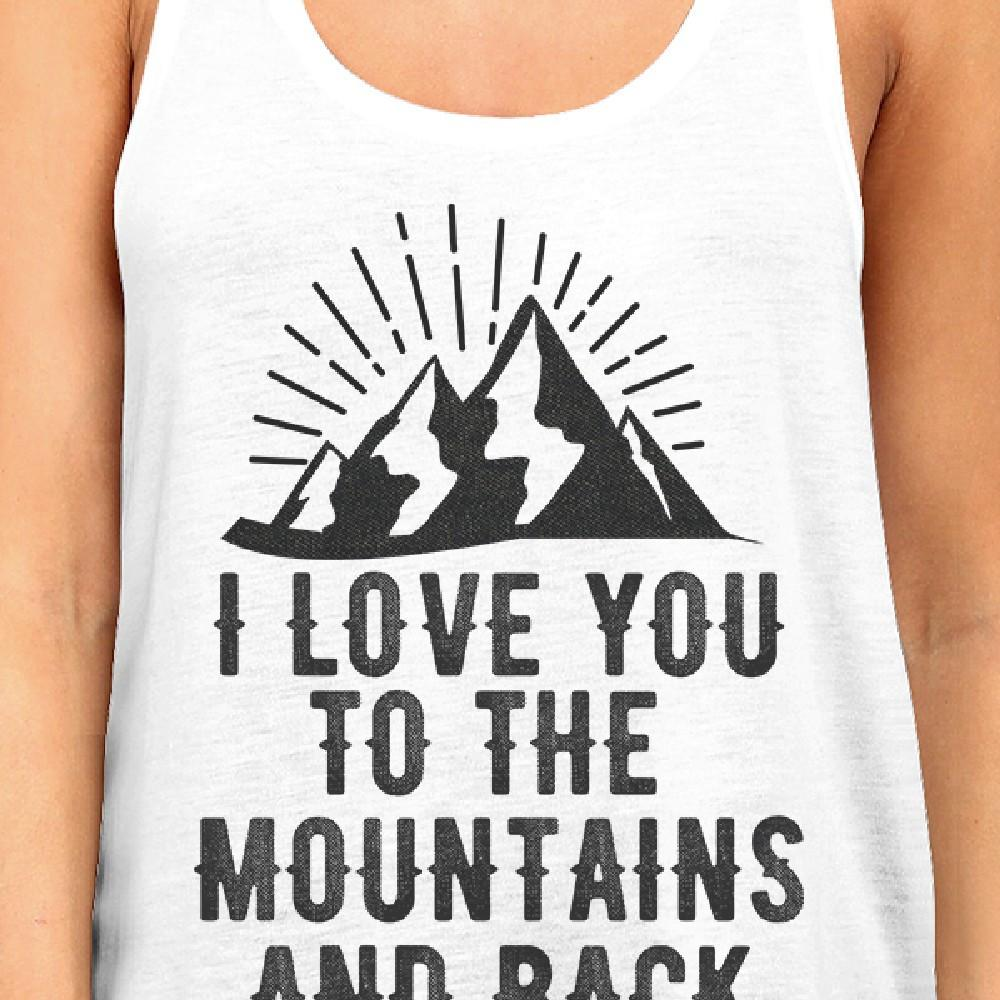 Mountain And Back Women's White Tank Top Couple Summer Trip Shirt