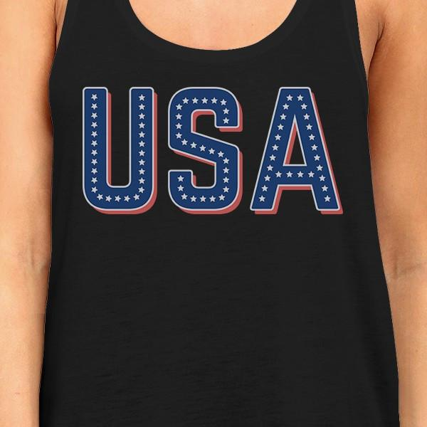 USA With Stars Womens Cotton Tank Top Unique USA Letter Printed