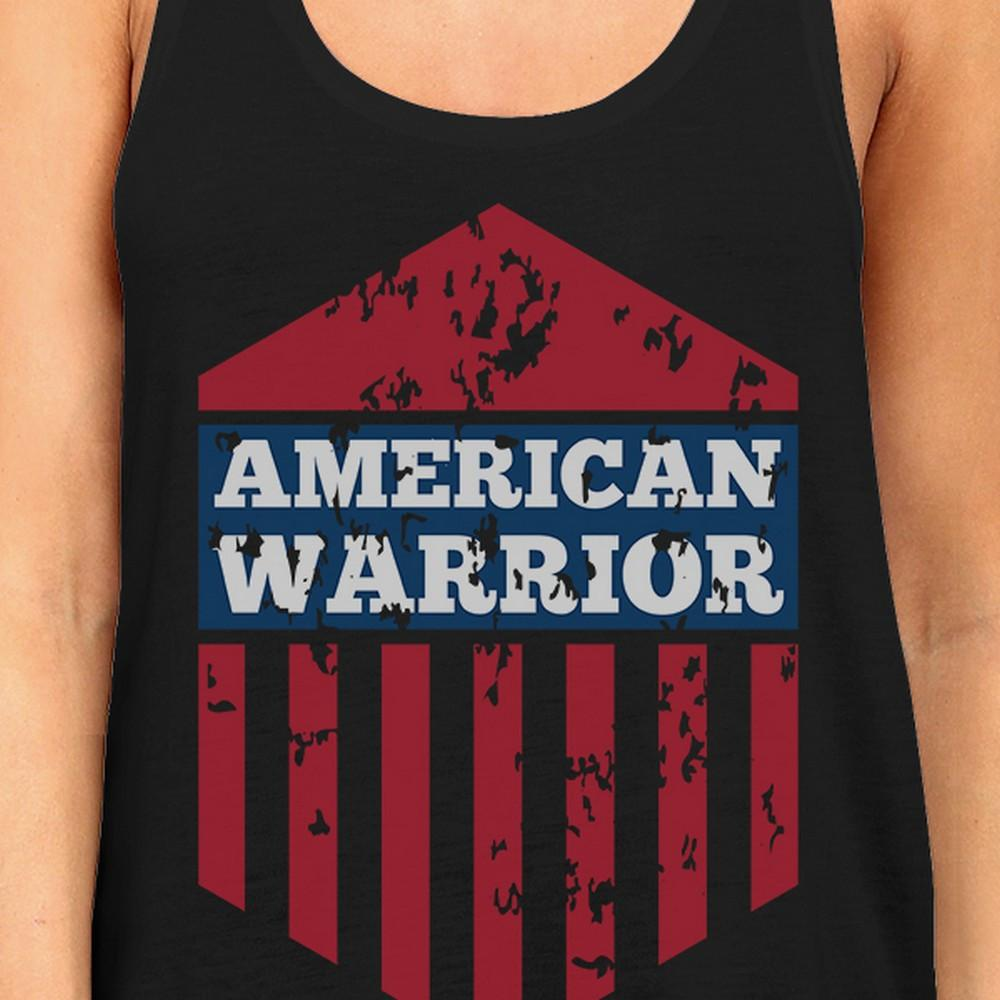 American Warrior Womens Black Crewneck Graphic Tanks Gift For Her