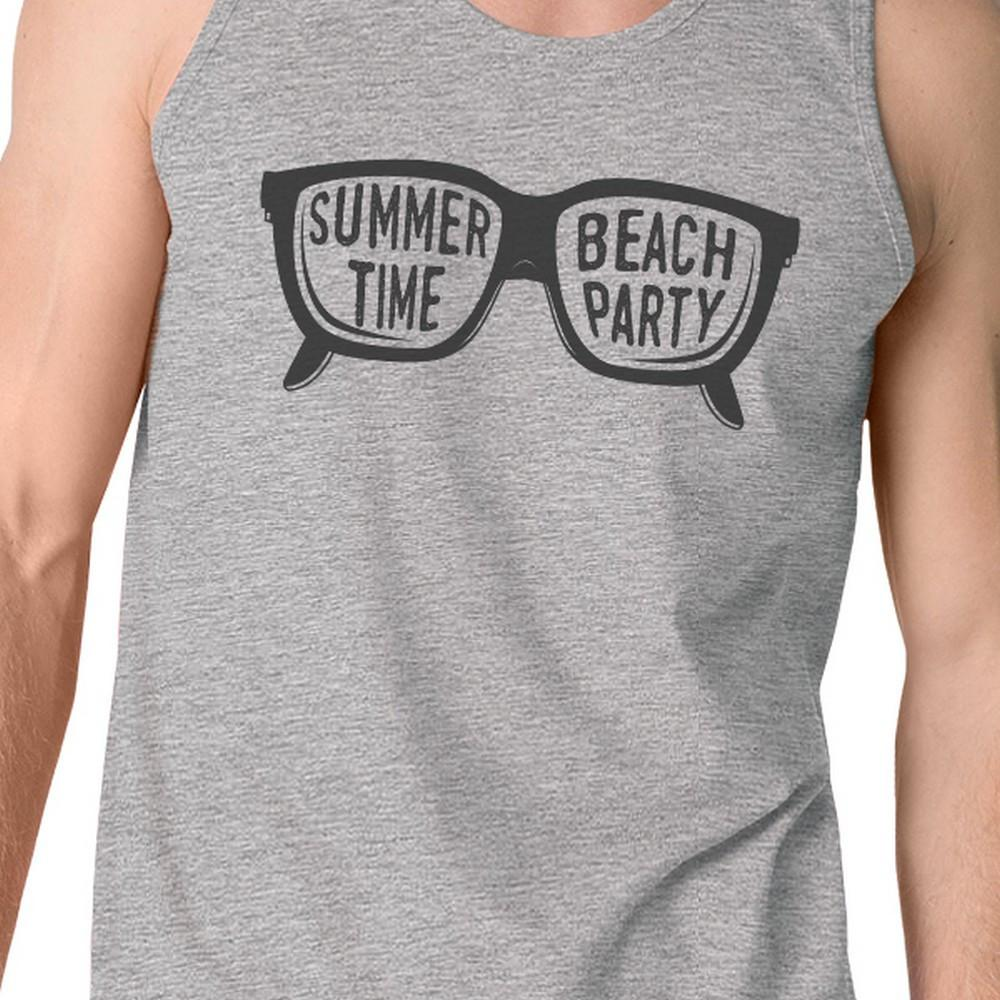 Summer Time Beach Party Mens Grey Tank Top