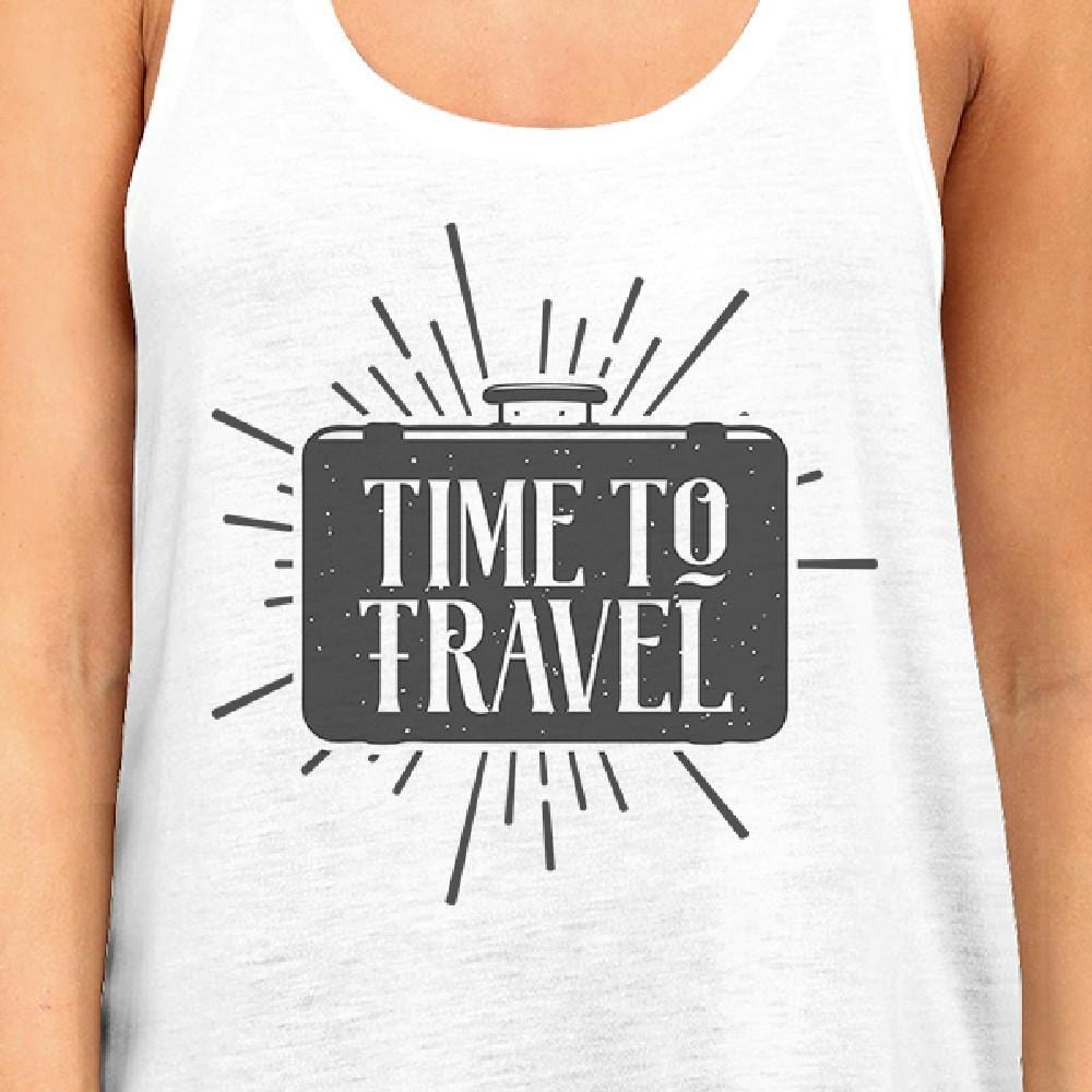 Time To Travel Womens White Tank Top
