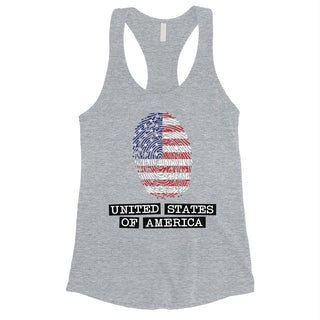 Fingerprint USA Flag Womens Racerback Tank Top 4th of July Outfit