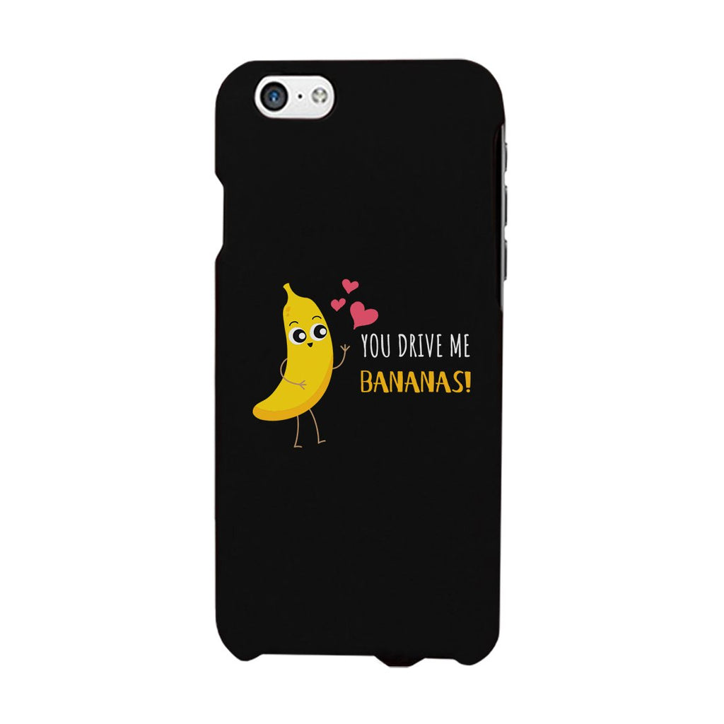 Bananas and Apple Matching Black Couple Phone Cases