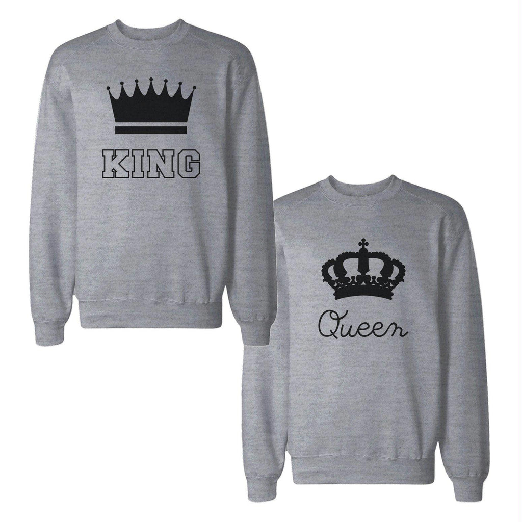 King And Queen With Crown Couple Sweatshirts Matching Sweat Shirts