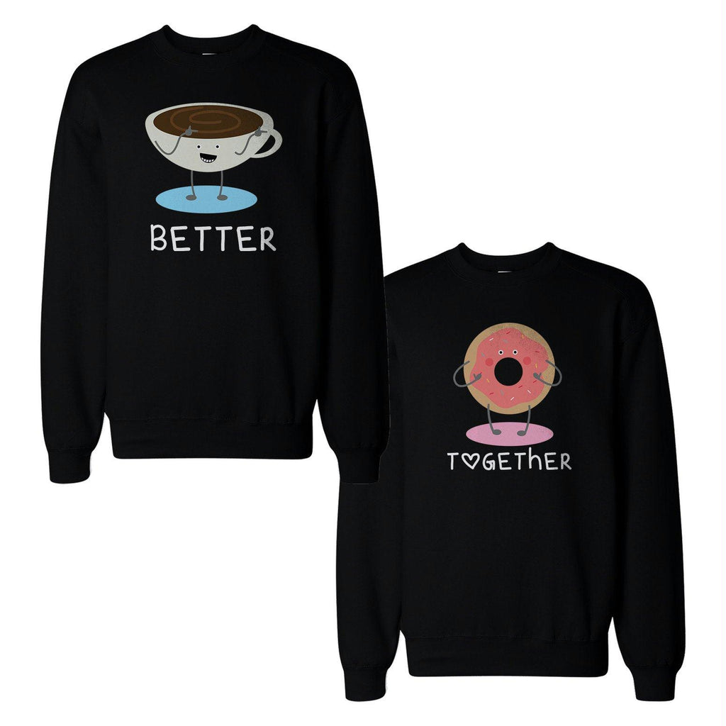 Coffee And Donut Couple Sweatshirts Cute Matching Gift For Christmas