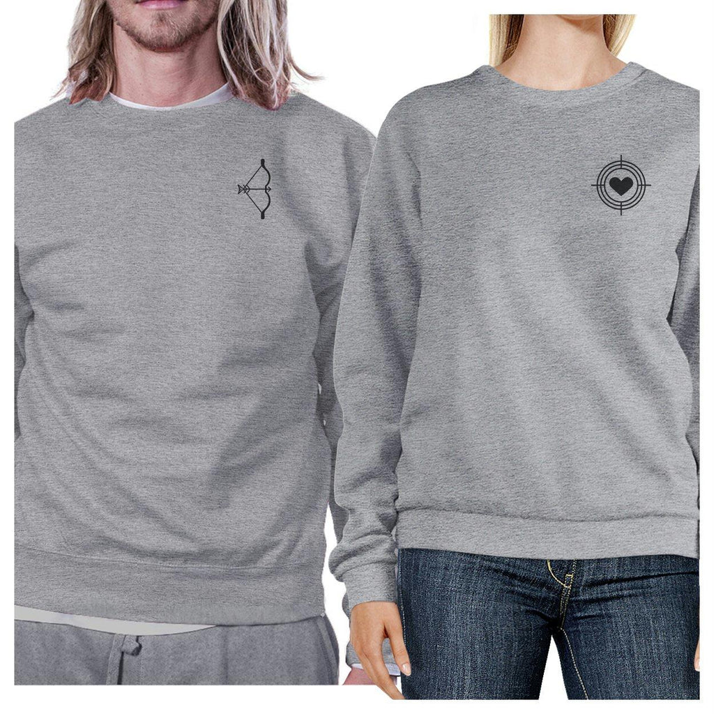 Bow And Arrow To Heart Target Matching Couple Grey Sweatshirts