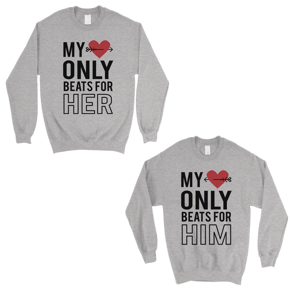 My Heart Beats For Her Him Matching Sweatshirt Pullover Cute Gift