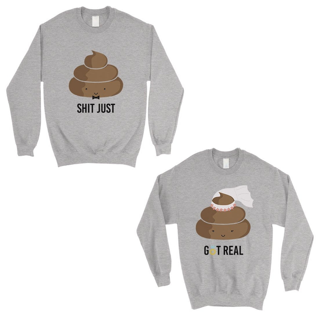 Poop Shit Got Real Matching Sweatshirt Pullover Unique Couples Gift