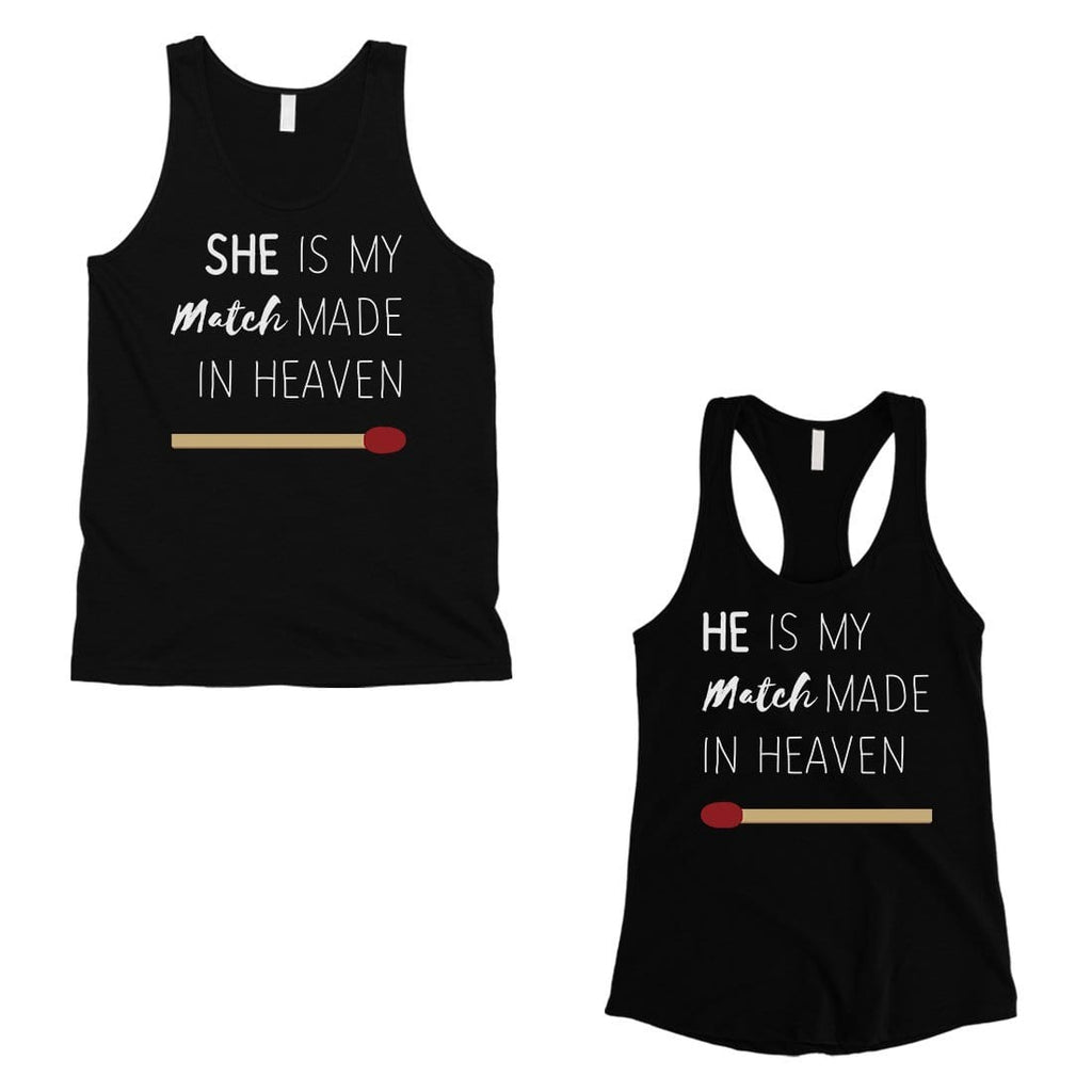 Match Made In Heaven Matching Couple Tank Tops Valentine's Day Gift