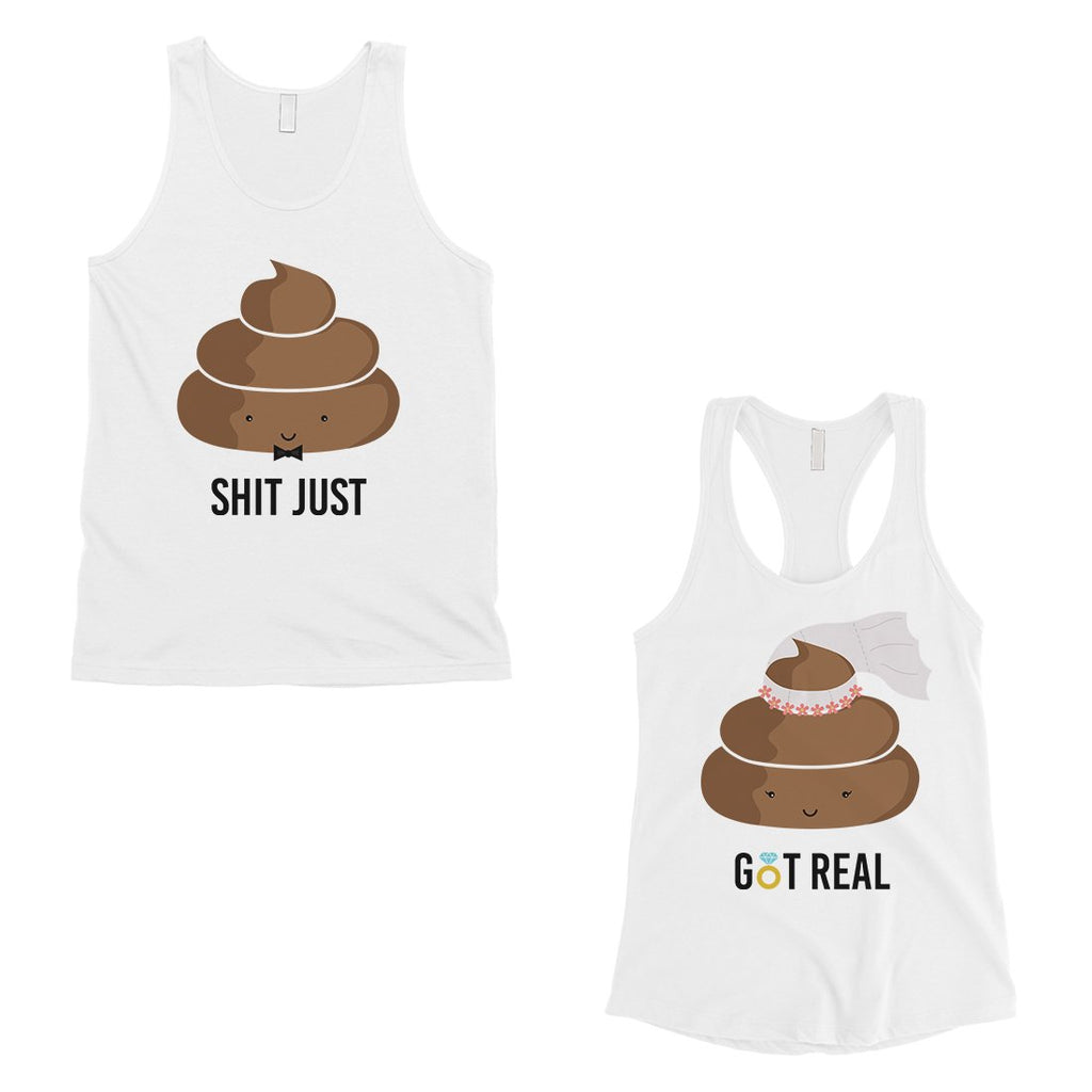 Poop Shit Got Real Matching Couple Tank Tops Funny Newlywed Gift