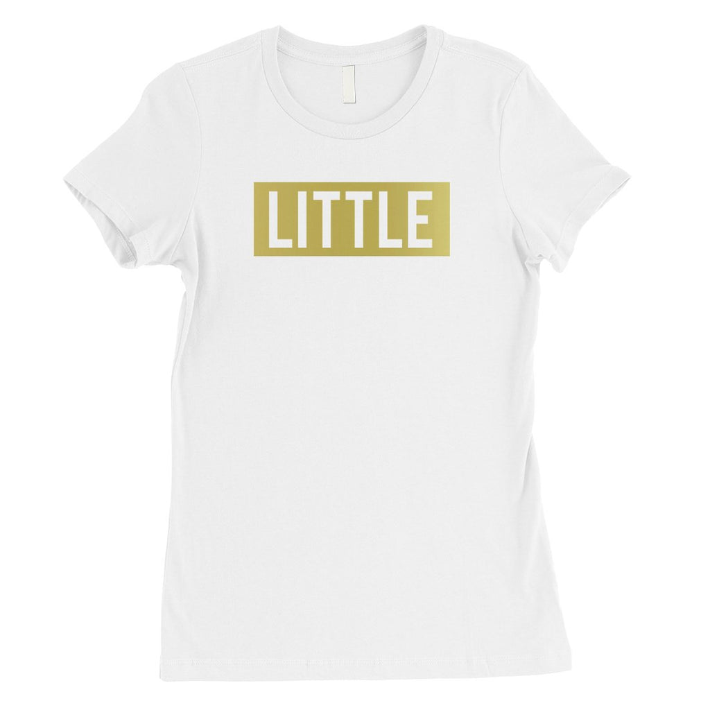 Big Little Boxed-GOLD Womens T-Shirt Happy Exciting Basic Sis Gift