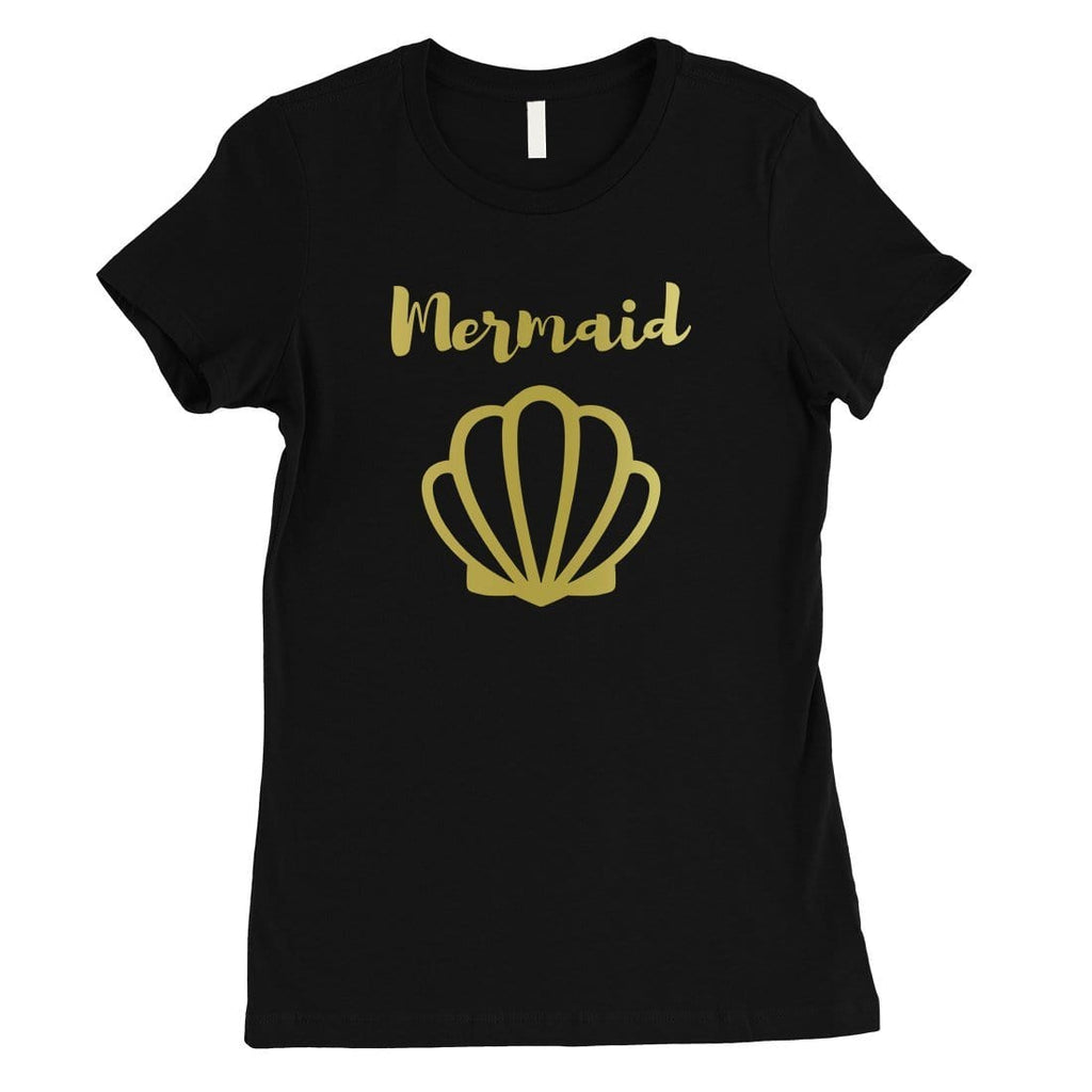 Bride Mermaid Seashell-GOLD Womens T-Shirt Splendid Celebration