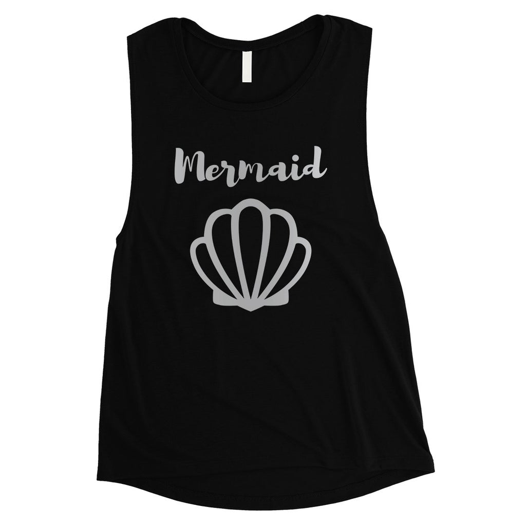Bride Mermaid Seashell-SILVER Womens Muscle Tank Top Modern Chic