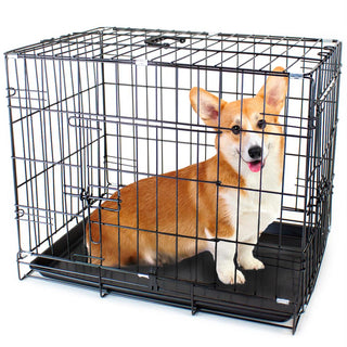 "42"" X-LARGE Dual-Door Folding Pet Crate with Removable Liner"